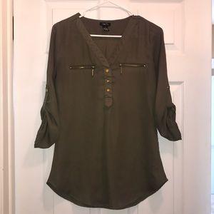 Forest green chiffon shirt
